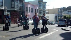 Robin and I made fun of the Segway Tourists - They said Hi really enthusiastically back.